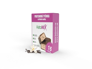 KetoMix Proteinové tyčinky s příchutí vanilky 16 x 40 g