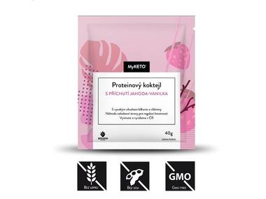 MyKETO Proteinový koktejl s příchutí jahoda-vanilka, 1 porce, 40 g