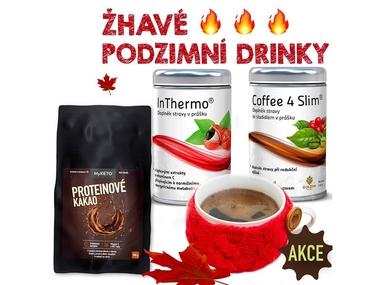 Žhavé podzimní drinky (Coffee4Slim 120g+InThermo200g+Proteinové kakao 800g)