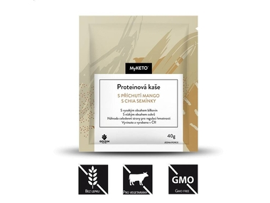 MyKETO Proteinová kaše s příchutí mango s chia semínky, 40 g