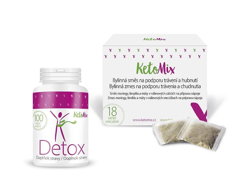 KetoMix Detox balíček – Detox kapsule + Bylinná kúra na podporu trávenia a chudnutia - vrecká