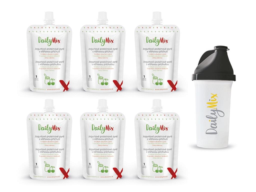 DailyMix Jogurtové proteínové pyré s višňovou príchuťou (5+1 zadarmo) + ŠEJKER ZADARMO
