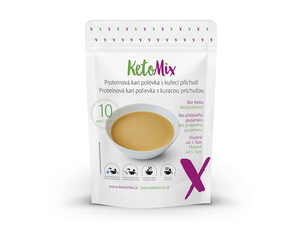 KetoMix Proteinová kari polévka s kuřecí příchutí (10 porcí) 250 g
