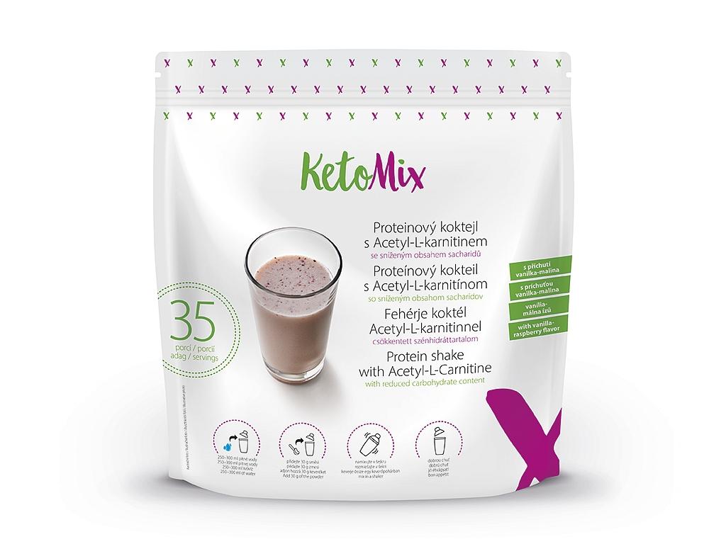 KetoMix Proteínový kokteil s Acetyl-L-karnitínom s príchuťou vanilka-malina (35 porcií)