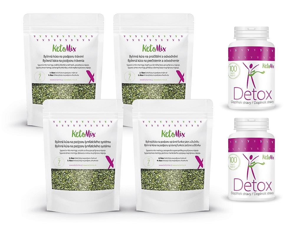 KetoMix Detox balíček – 2x Detox kapsule + Bylinná kúra na podporu chudnutia – sypaná zmes