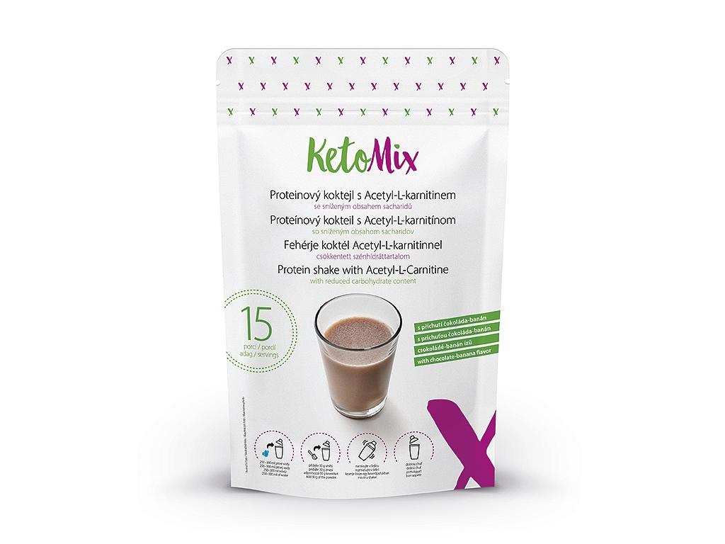 KetoMix Proteínový kokteil s Acetyl-L-karnitínom s príchuťou čokoláda-banán (15 porcií)