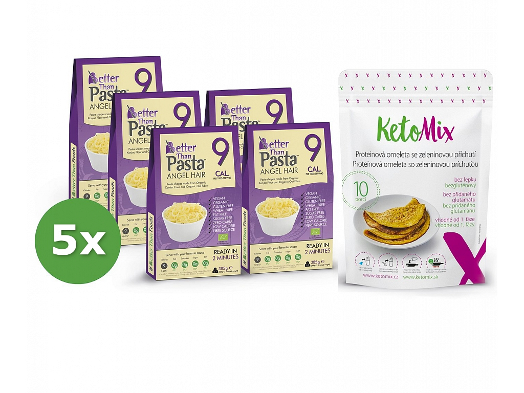 5x balení konjakových příloh KetoMix a proteinová omeleta se zeleninovou příchutí