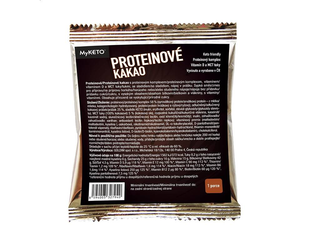 MyKETO Proteinové kakao, 20 g, 1 porce