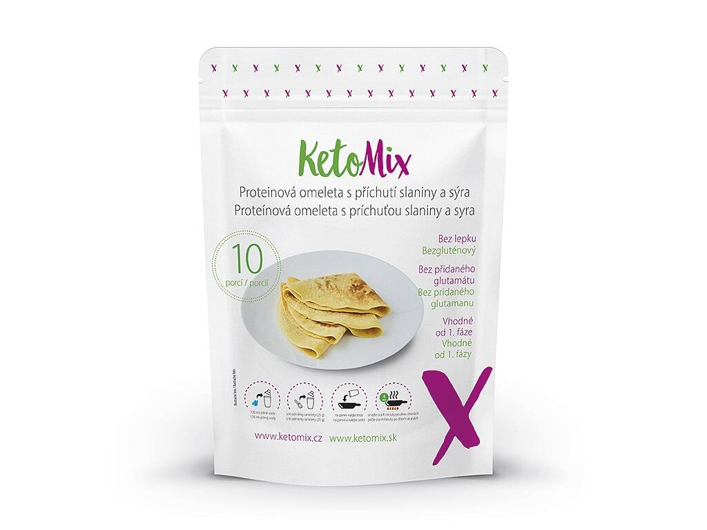 KetoMix Proteinová omeleta s příchutí slaniny a sýra (10 porcí) 250 g