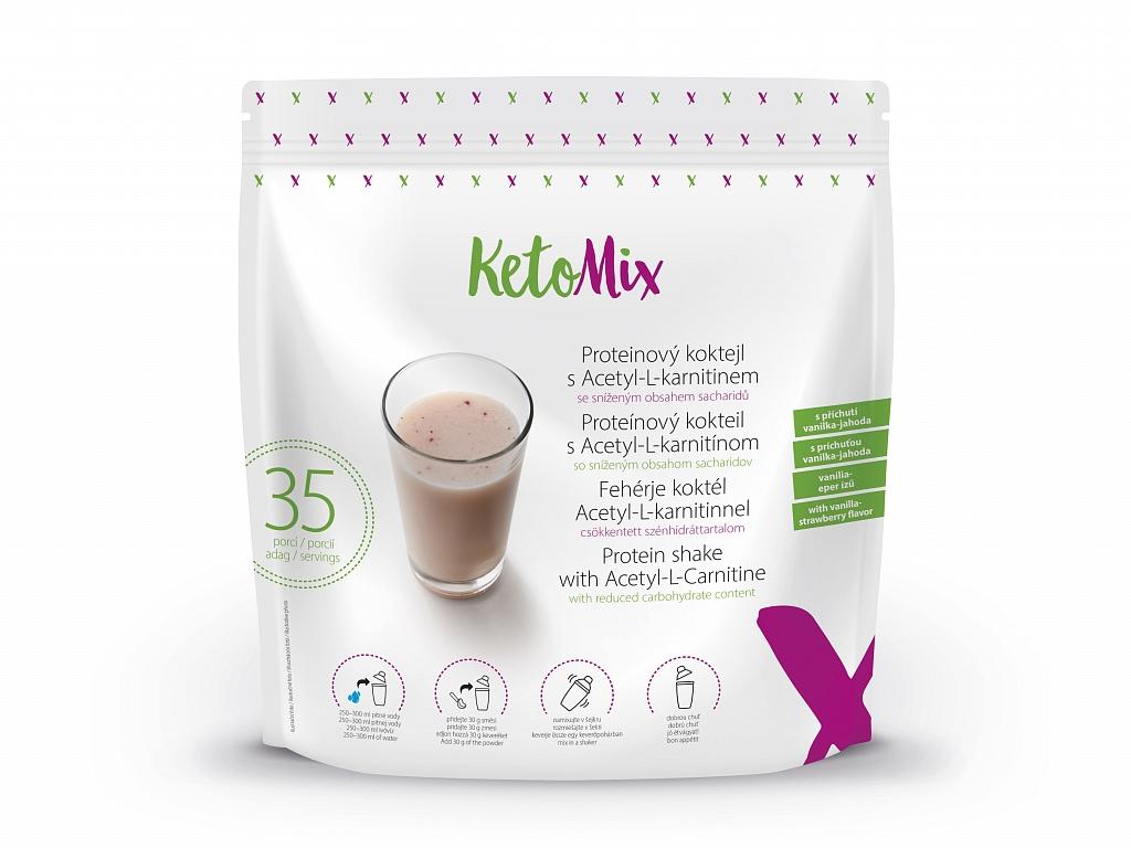 KetoMix Proteínový kokteil s Acetyl-L-karnitínom s príchuťou vanilka-jahoda (35 porcií)