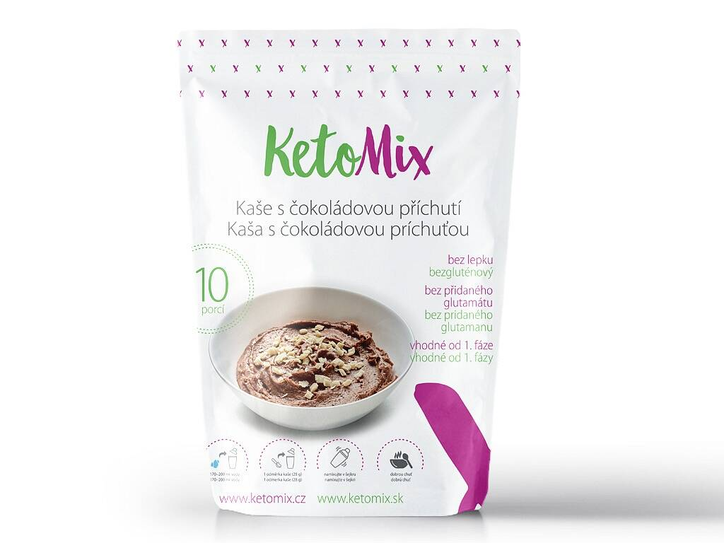 Proteínová kaša KetoMix - s čokoládovou príchuťou (10 porcií) 280 g